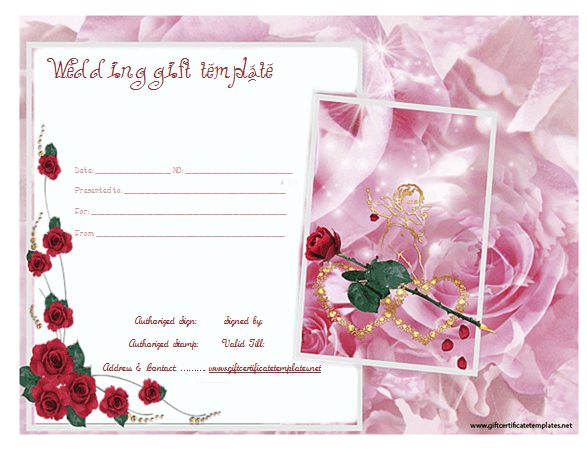 Pinkroseweddinggiftcertificatetemplate – Wedding Gift Certificate Template