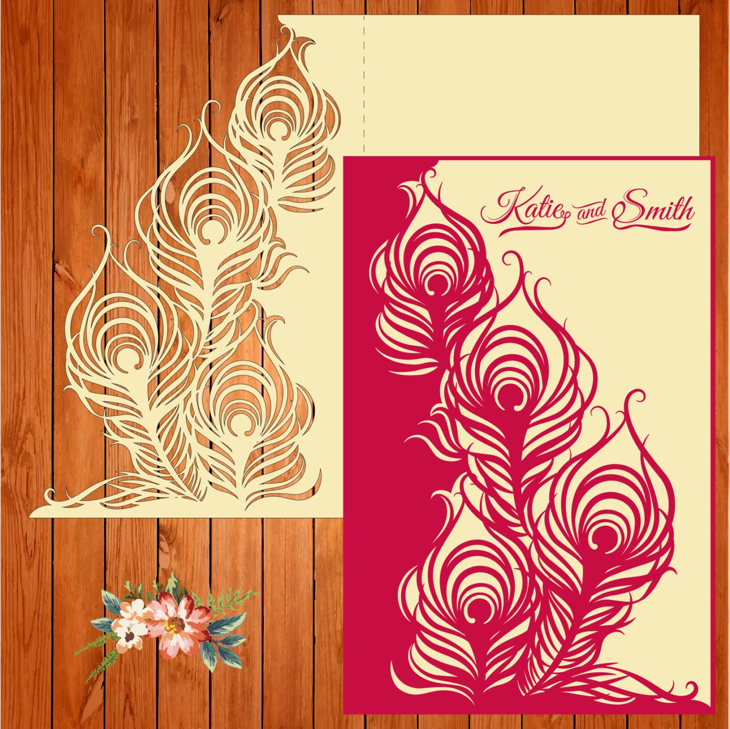 Wedding card invitation template, figures, feathers (ai, eps, svg ...