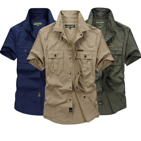 Casual Shirts Men's Clothing Jeep Solid Color Cotton Mens Shirts Short Sleeve Turn-down Collar Army Green Khaki Men Tops Casual Male Camisas Shirt Xxxl