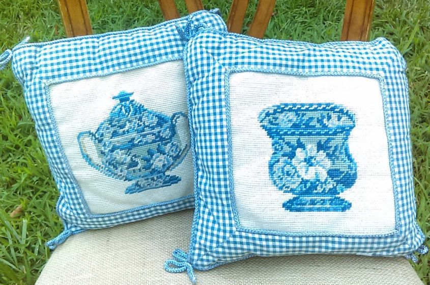 Cross Stitched Pillows/Country Decor/Victorian Decor/ Size is 11 1/2 x 11 1/2/Ask a question by GenesisVintageShop on Etsy