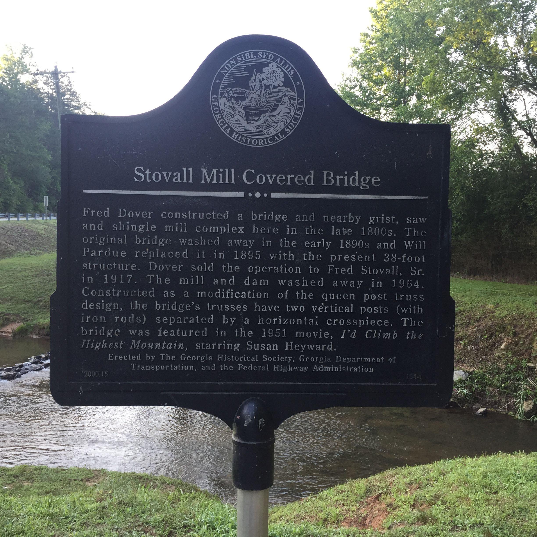Historic Sign. Stovall's Mill Covered Bridge. Helen