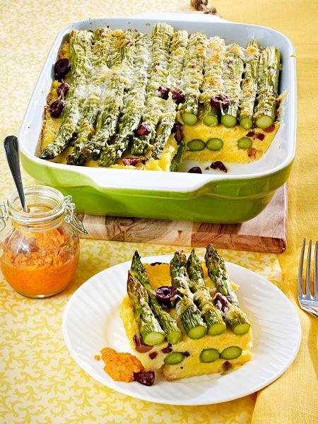 polenta spargel auflauf mit oliven und paprika pesto rezept recipes food veggie pasta und. Black Bedroom Furniture Sets. Home Design Ideas