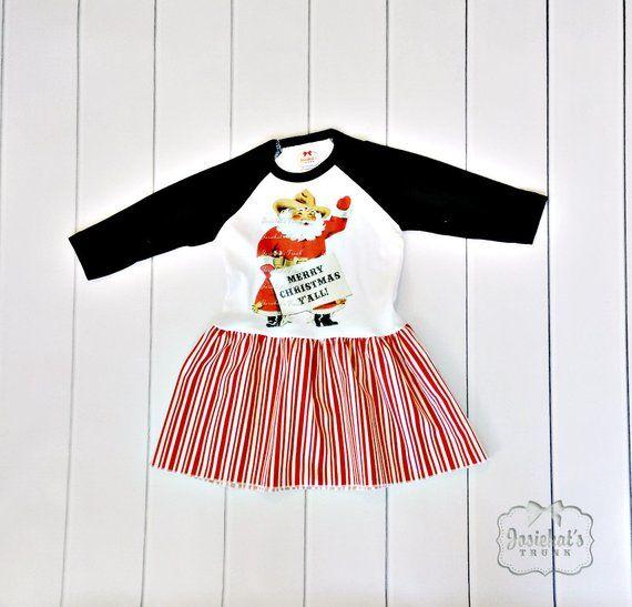 Weihnachtskleid - Kleinkind Santa Kleid - Retro Texas Santa Kleid -