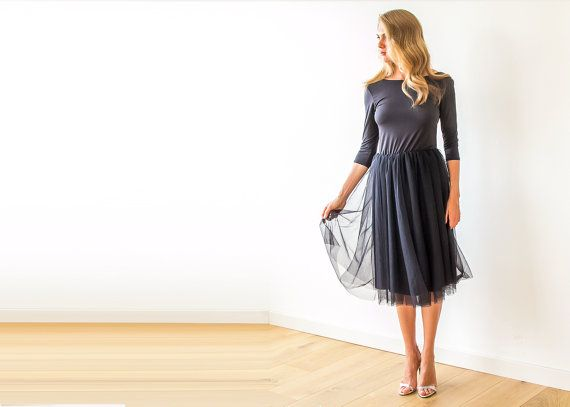 Black open back Black short tulle gown with long by BLUSHFASHION