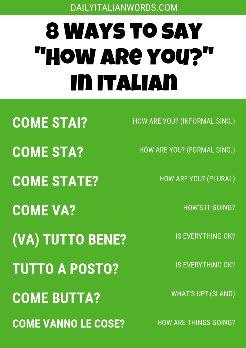 "8 Ways to Say ""How are you?"" in Italian – Words & Phrases"