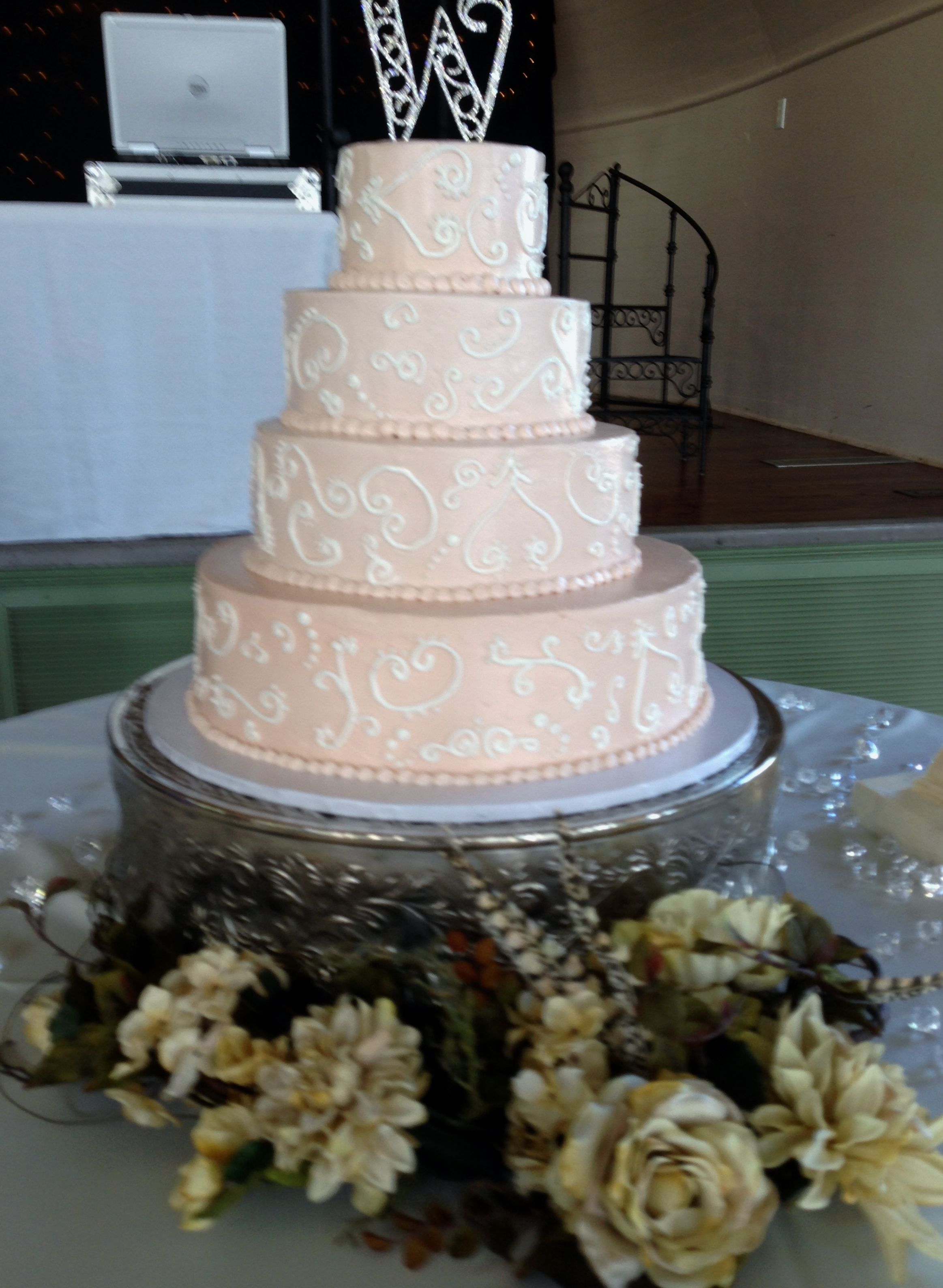 This is a butter cream wedding cake for 200 guests