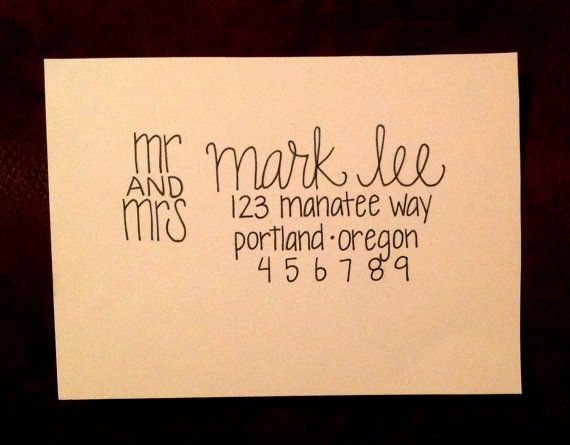 Handwritten Envelope Addressing Wedding Calligraphy Custom Event