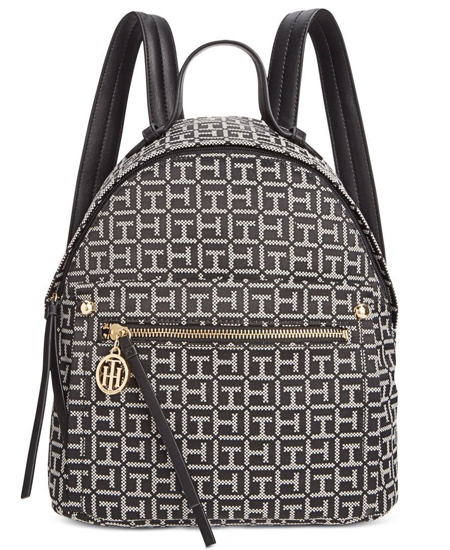 b4449d5649f Tommy Hilfiger Tessa Monogram Jacquard Small Backpack Mochila Tommy
