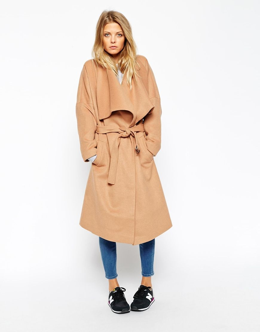 aeb12a2047 Image 1 of ASOS Coat With Waterfall Front Nyc Fashion
