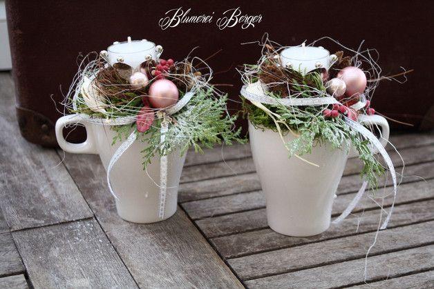 Weihnachtsdeko adventsgesteck tasse ein - Tischdeko gunstig ...