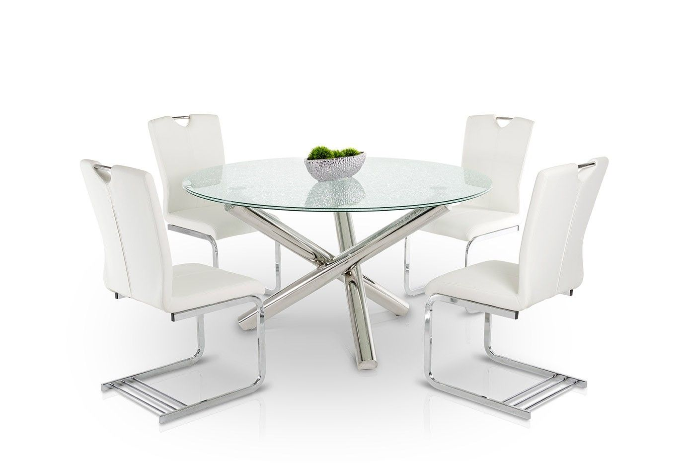 Frau modern round cracked glass dining table rounding for Cracked glass dining table