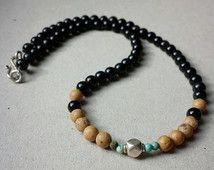 34a4673666e6 Collar de boho de los hombres, collar de piedras preciosas de hippy ...