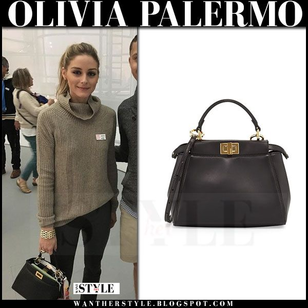 048a2d0c5509 Olivia Palermo with black leather Fendi Peekaboo bag