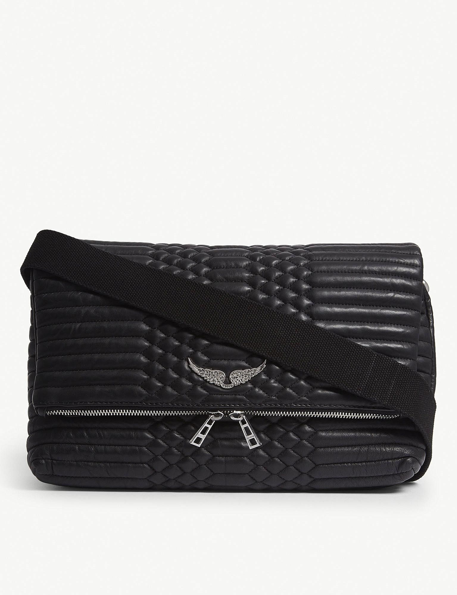 Zadig Voltaire Black Rocky Xl Matelasse Leather Shoulder Bag Bolsos Accesorios