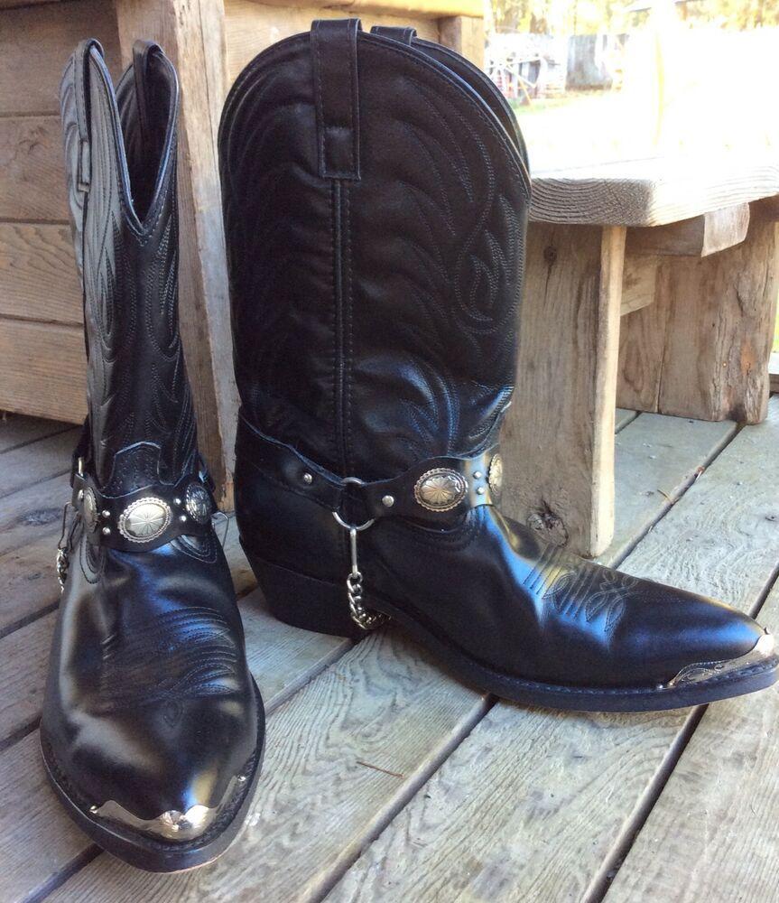 2db7793b3c4 LAREDO MENS RODEO COWBOY BLACK LEATHER BOOTS 12D TOE TIPS CONCHO ...