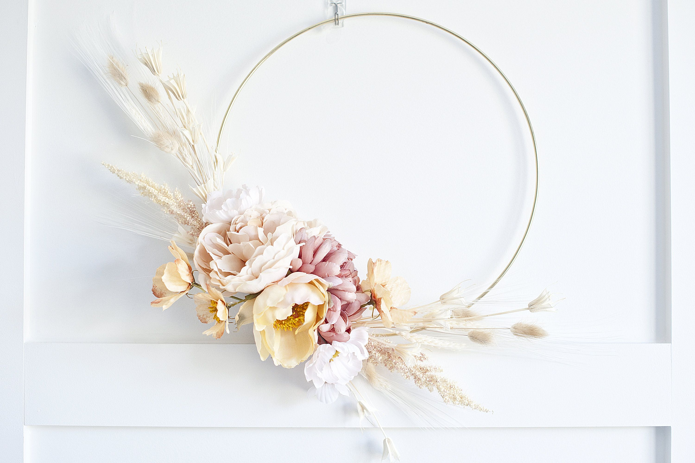 Photo of Modern dried plumes pampas grass & peony wreath hoop wreath nursery wreath  dahlia wreath dried grass wreath dried flowers wreath wedding