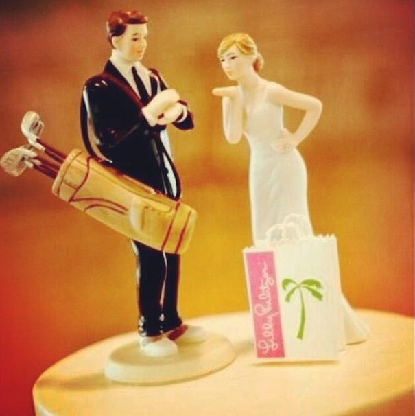 Lilly Pulitzer wedding cake topper-- replace the golf playing gent ...