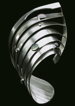 Bracelet | Karen Bullaro.  'The Great Flood'.  Sterling silver, aquamarines, opals, topaz, moonstone and quartz
