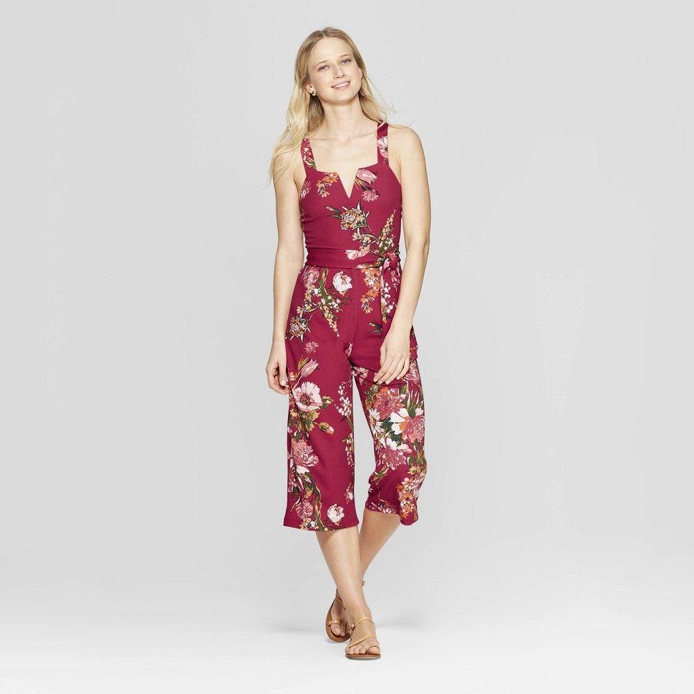 0cb8509e2c3b Women s Floral Print Strappy Tie Front Cropped Knit Jumpsuit - Xhilaration  ...