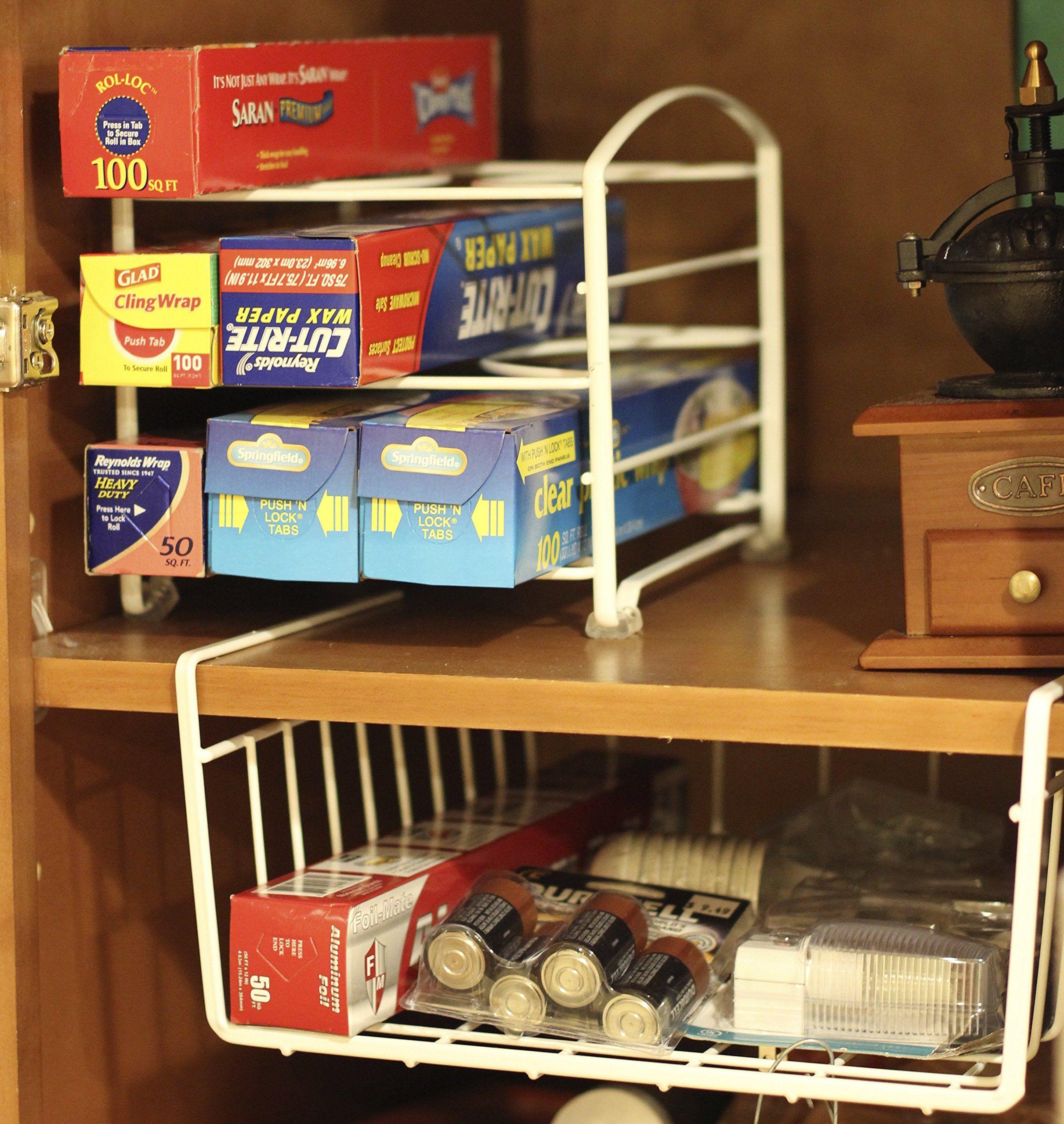 AmazonSmile - DecoBros Under Shelf Basket Wrap Rack, White - Cabinet Organizers #cabinetorganizers
