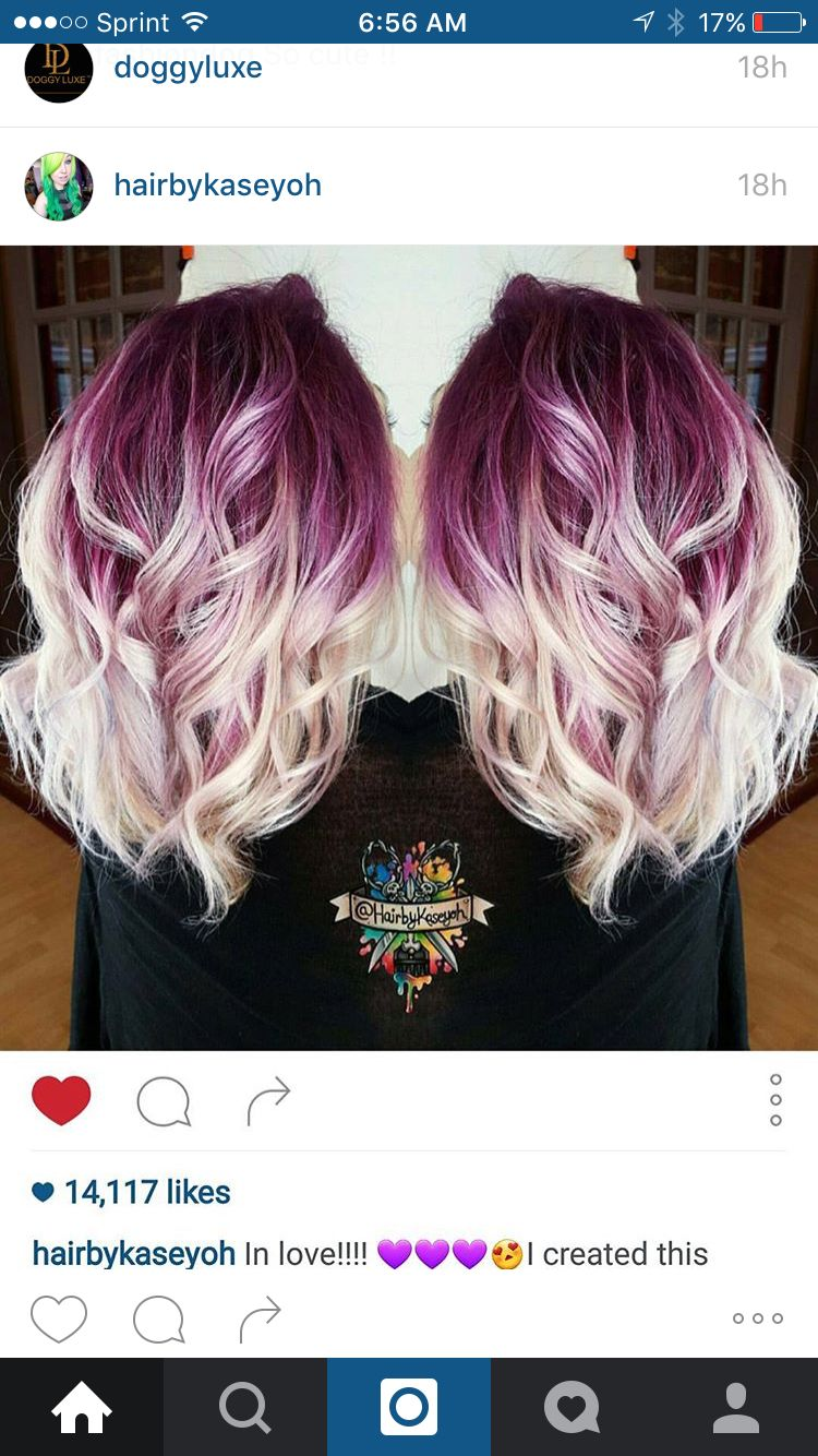 Hairbykaseyoh Instagram Purple White Blonde Melt Plum Purple Hair White Blonde Hair Lilac Hair