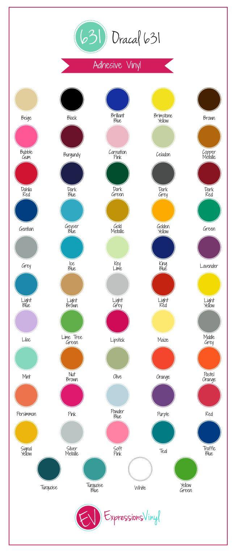Oracal 631 Vinyl Color Chart Vinyl Sheets Vinyl Crafts