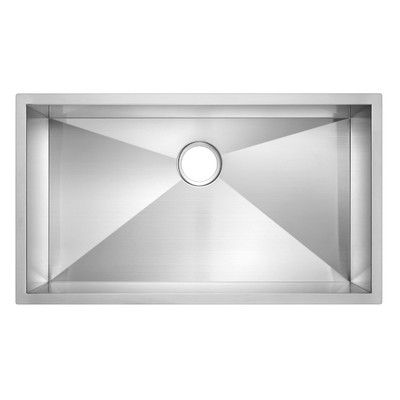 "Water Creation SS-U-3319A 33"" X 19"" Zero Radius Single Bowl Stainless Steel Hand Made Undermount Kitchen Sink"