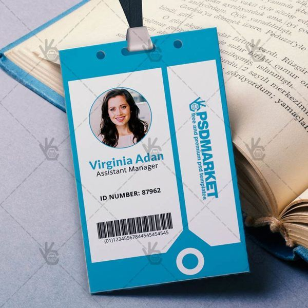 Blue   Free ID Card PSD Template