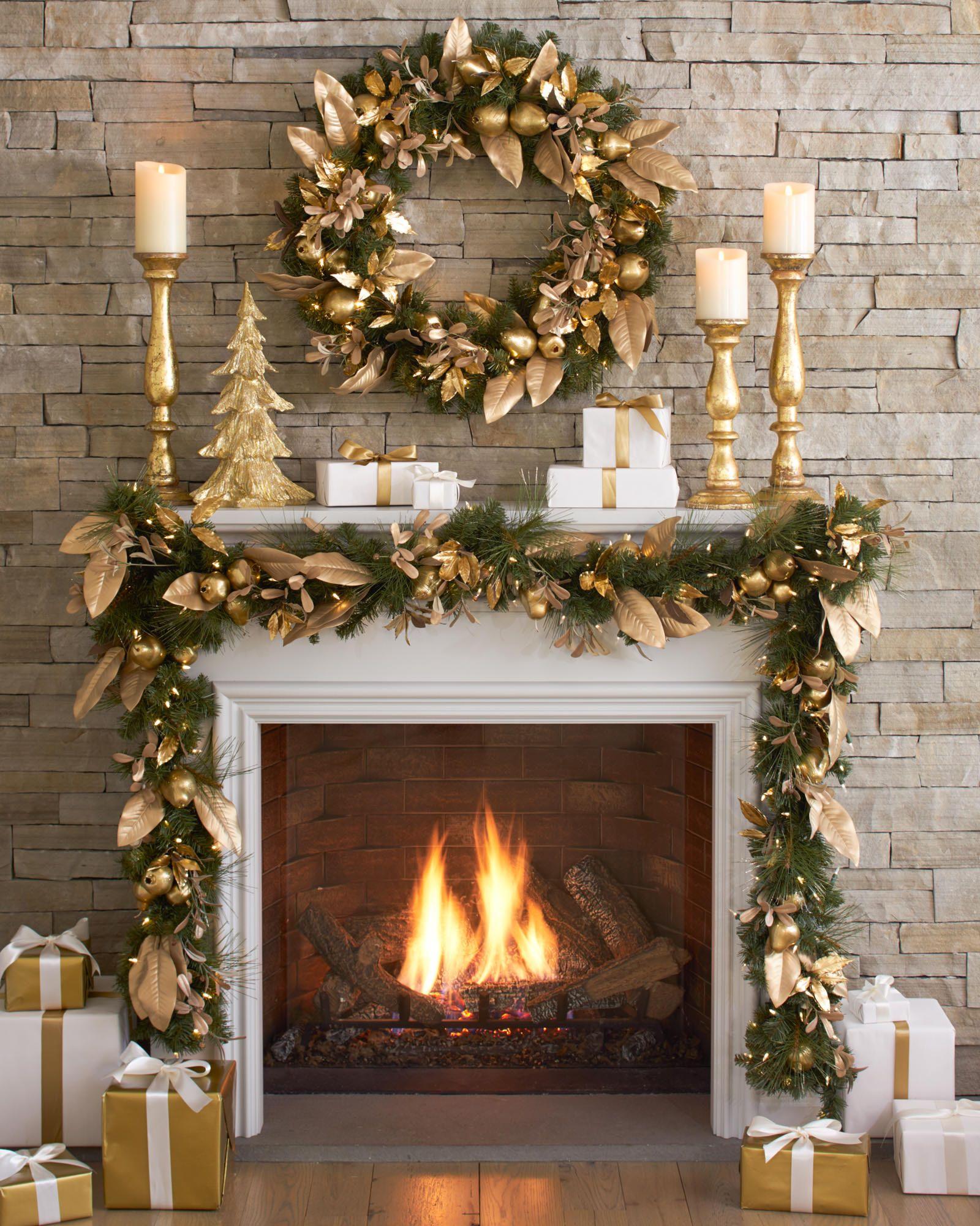 Christmas Mantel Decor Gold