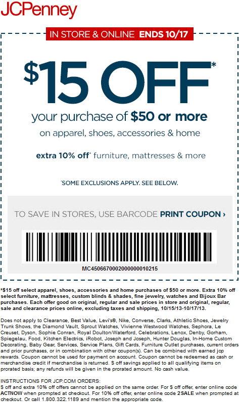 Pinned October 16th 15 Off 50 On Apparel More At Jcpenney Or Online Via Promo Code 2 Sale Coup Jcpenney Coupons Free Printable Coupons Printable Coupons