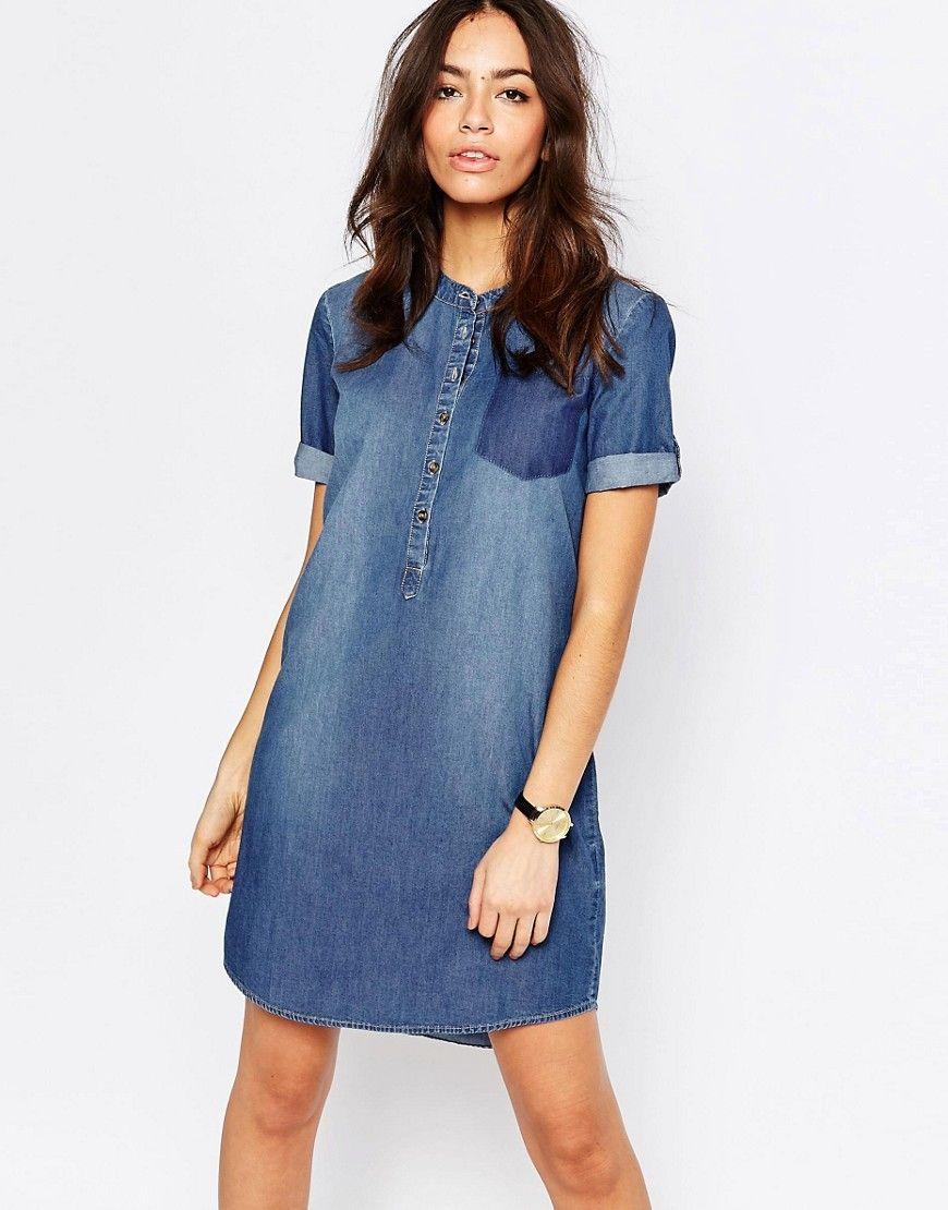 9ac913493144a2 J.D.Y – Kragenloses Jeans-Etuikleid | Fashion | Pinterest | Kleider ...