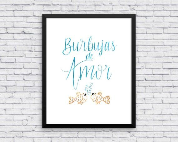 Burbujas de Amor, Spanish Baby Room, Baby Room Spanish, Spanish Nursery Art, Spanish Art Print, Span