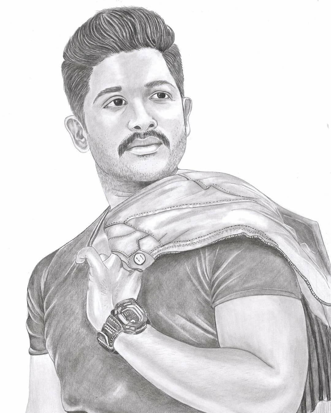 Another one by me protrait of allu arjun graphite pencil work