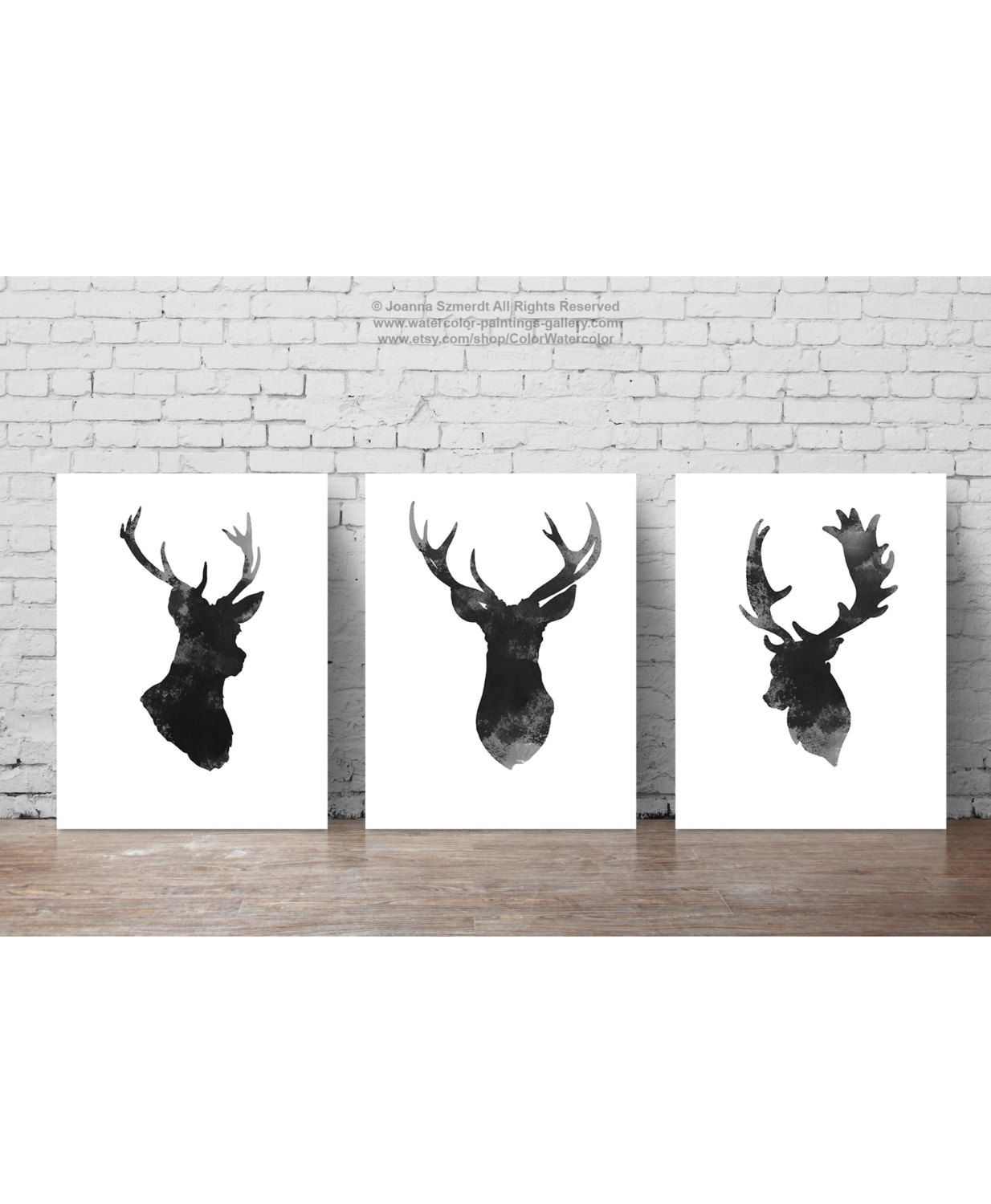 Deer head set of 3 gray minimalist drawing black antlers for Minimalist wall decor