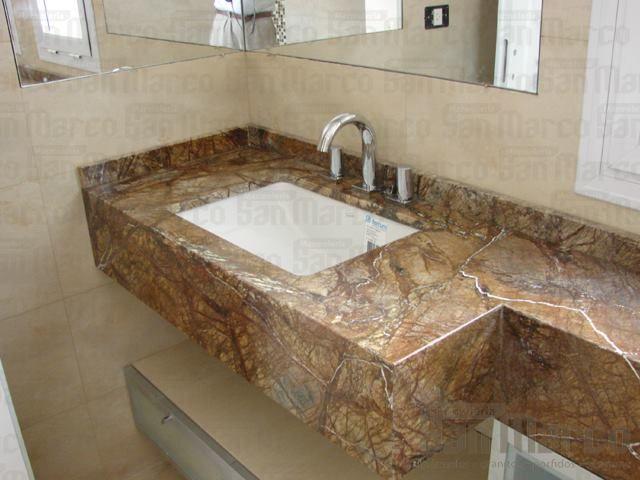 Mesada para baño en Mármol Marrón Bosque. | mueble | Pinterest