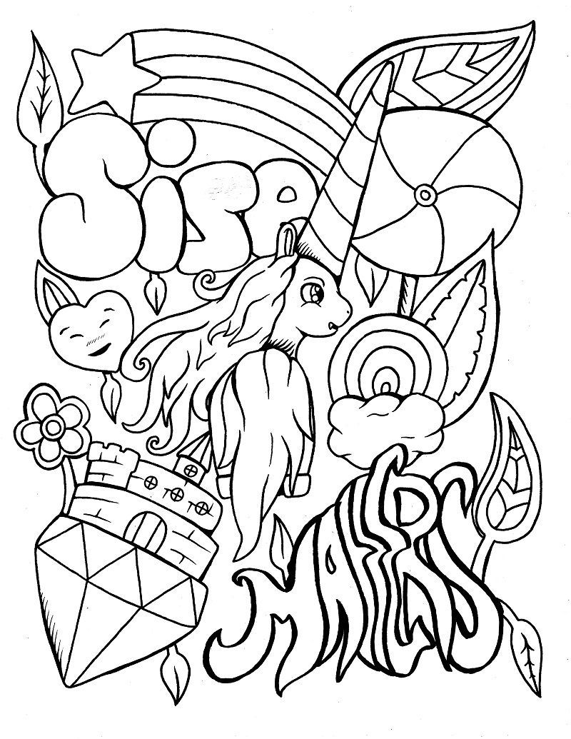 Funny Unicorn Coloring Page Humor Unicorn Coloring Pages Curse