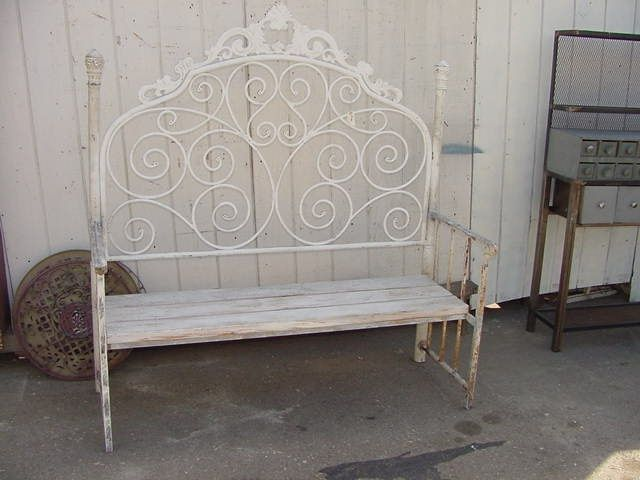 Surprising Bench Made From Headboard Bench Made With Vintage Iron Short Links Chair Design For Home Short Linksinfo