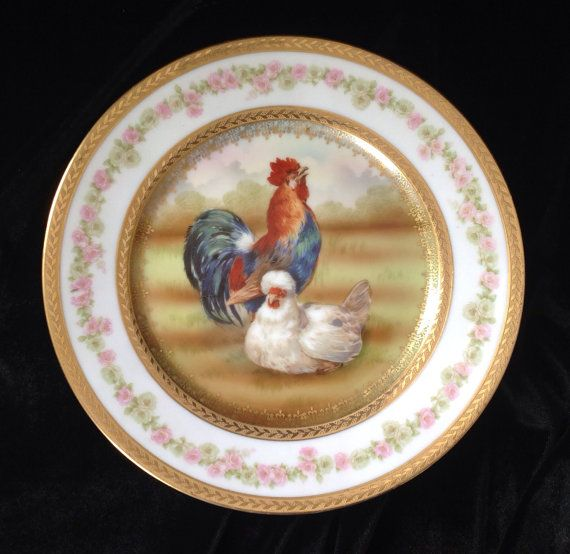 Vintage Decorative Plate Featuring a Rooster by MadoliveShoppes $90.00 & Vintage Decorative Plate Featuring a Rooster by MadoliveShoppes ...