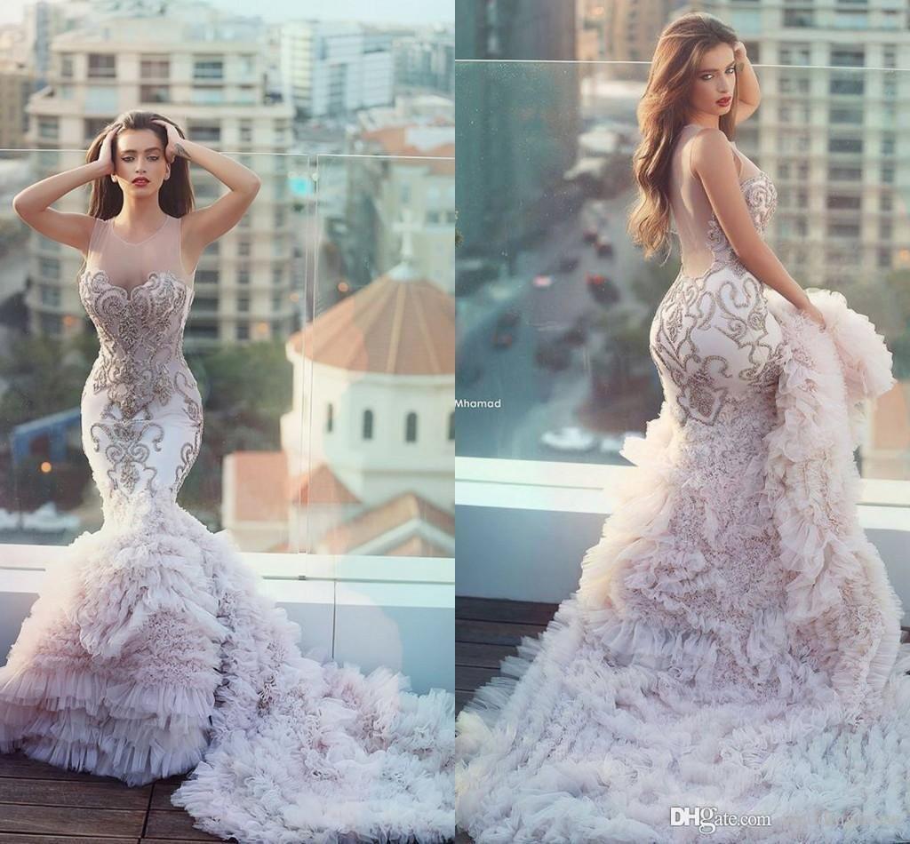 2016 Blush Pink Wedding Gowns Unique Plus Size Mermaid Wedding ...
