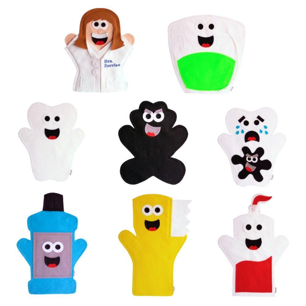 a0a6587e9 Fantoches Higiene Bucal - Dentista ITENS  8 FANTOCHES  Dente saudável