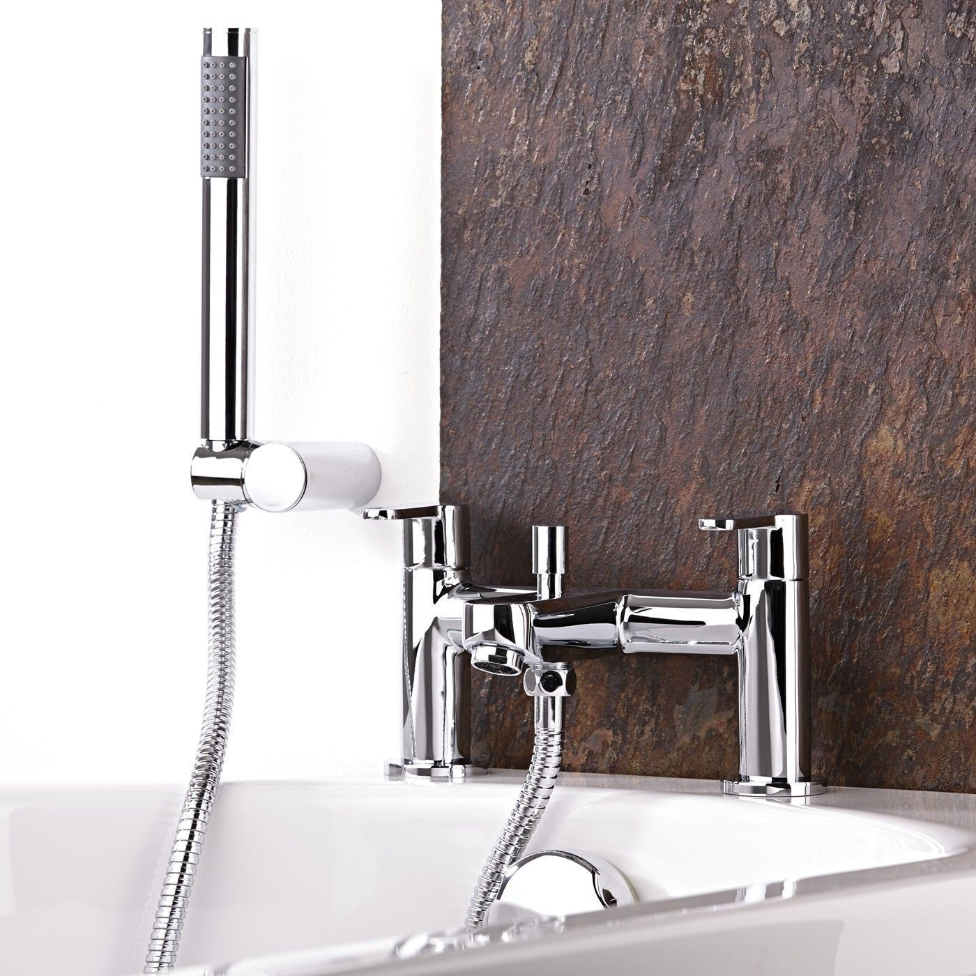 The Newbury tub shower mixer faucet features a modern design and a chrome finish