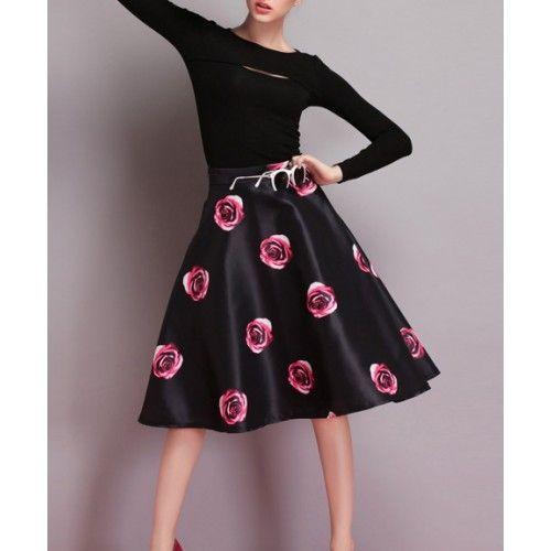 Flowers Print Knee-length Skirts K0292