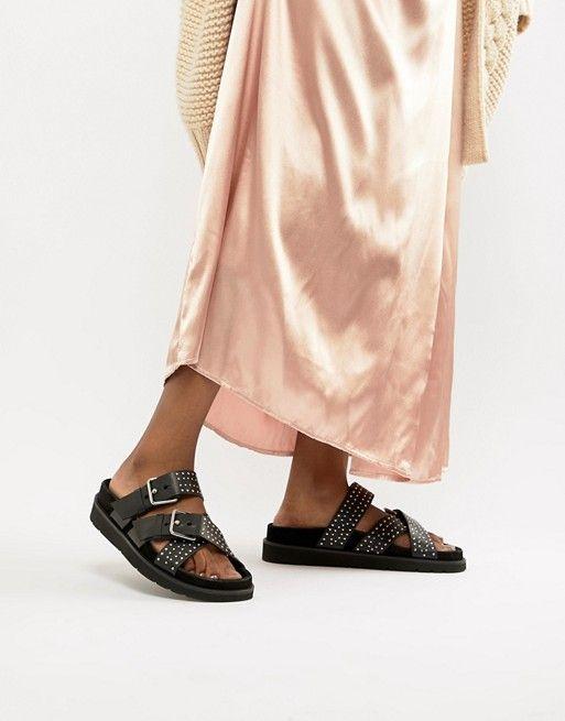 3d3e49a013a54 AllSaints Nadia suede and stud sandal Studded Sandals, All Saints, Fashion  Online, Asos