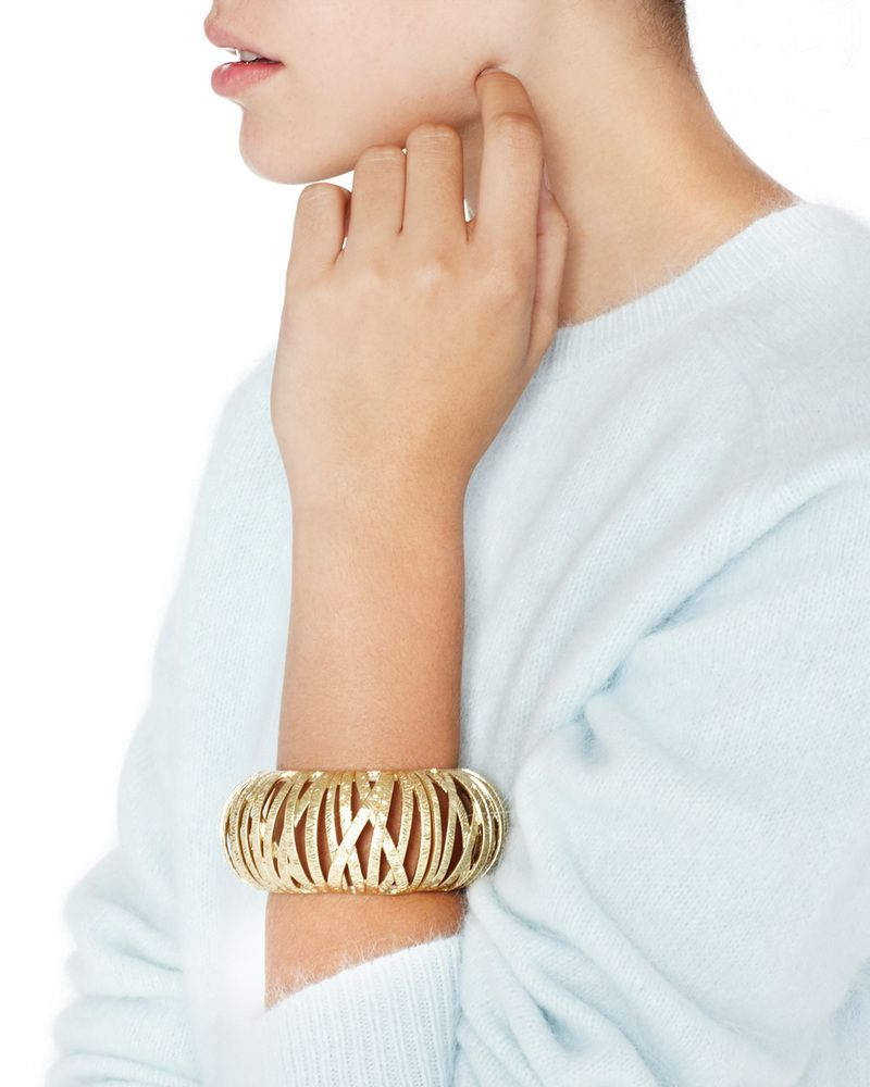 Le cage bangle bamboo etched brushedgold lookbook pinterest