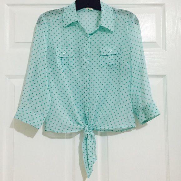 Sheer Top Polka Dot Sheer Button Up Top Tops Blouses