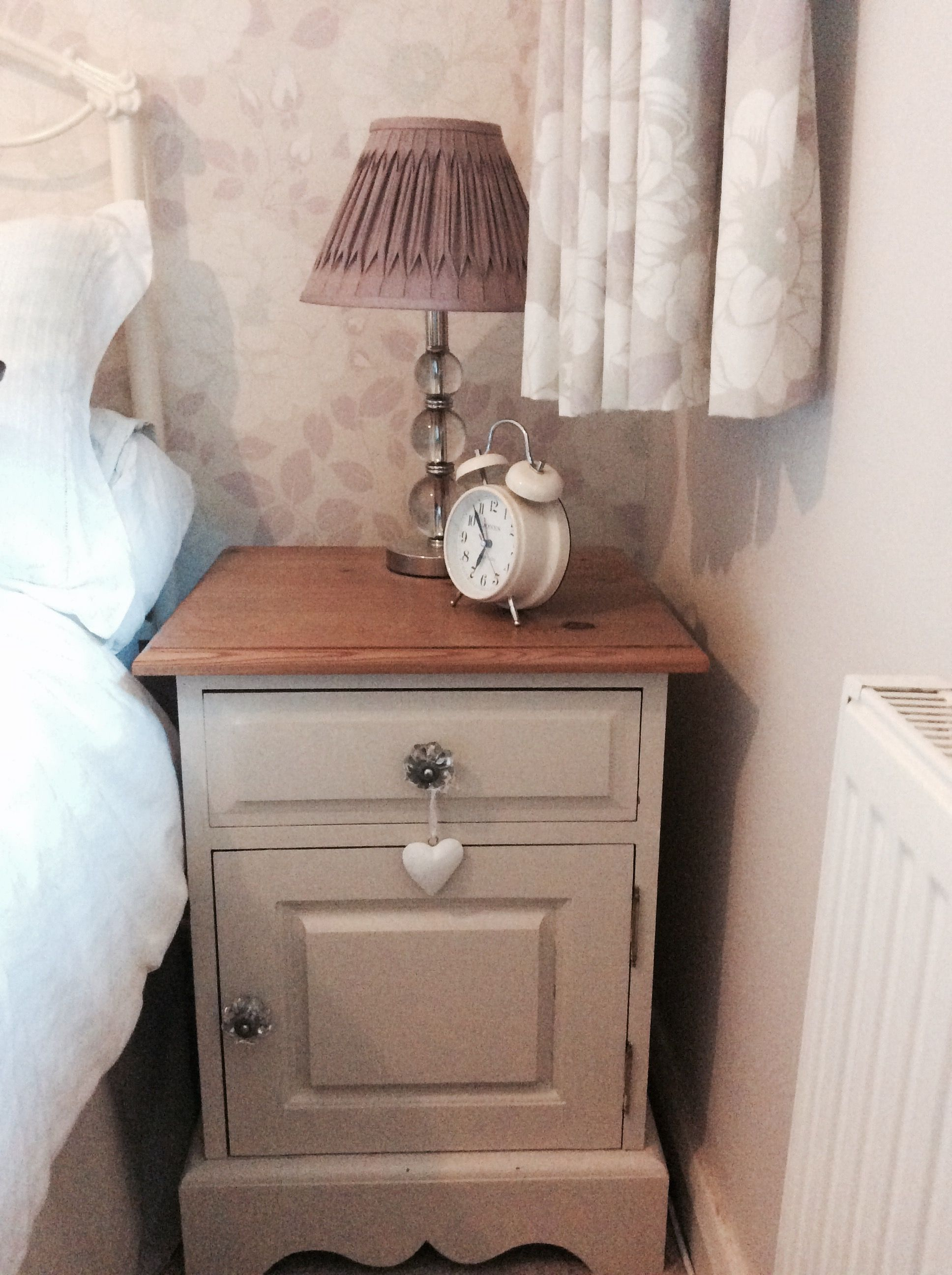 Painted Old Pine Bedside Cabinet In Laura Ashley Twine Gl S And Waxed Top