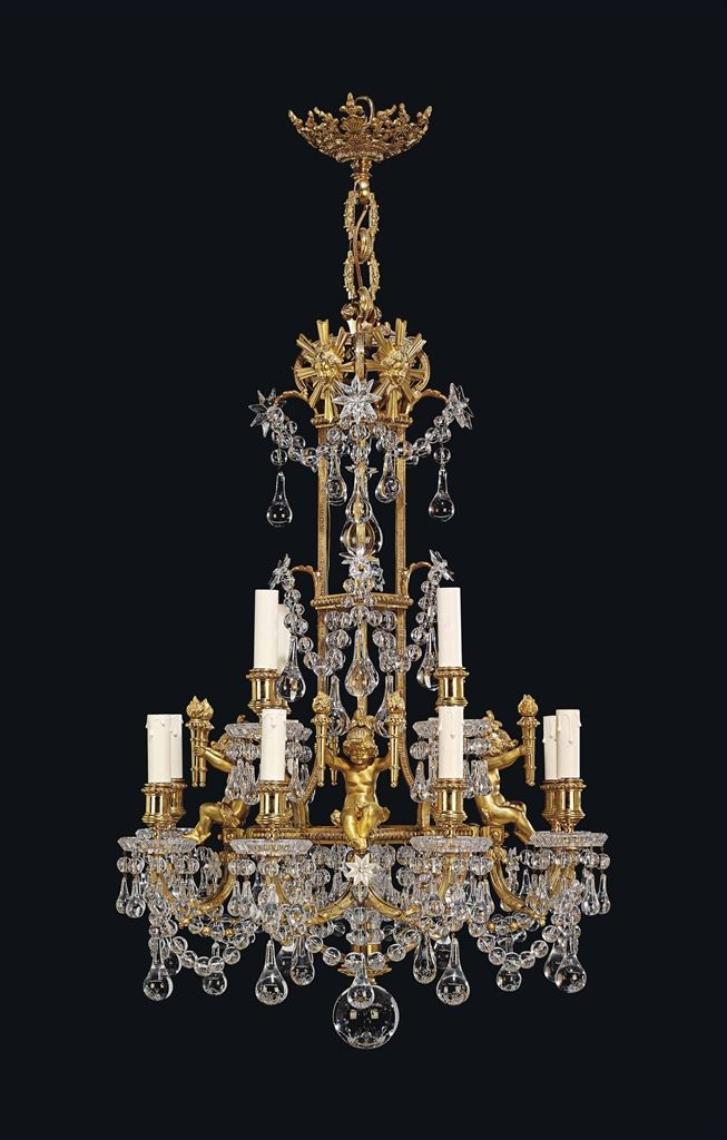 A FRENCH ORMOLU AND CUT-GLASS TWELVE-LIGHT CHANDELIER - BY BACCARAT, PARIS, LATE 19TH CENTURY.