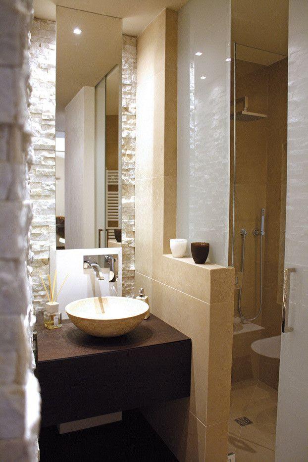 Kleines Bad Waschtisch Holz Runder Aufsatzbecken Spiegel Hinterbeleuchtung