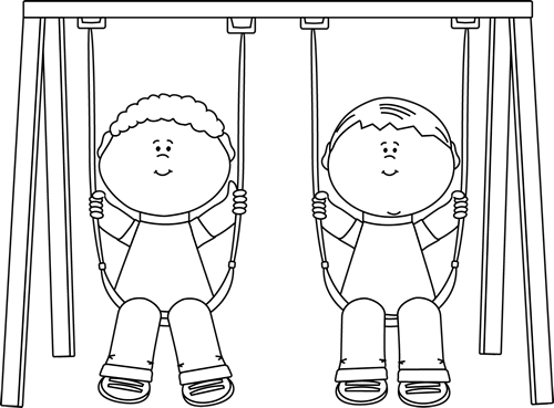 Black And White Black And White Kids Swinging Clip Art Kids Clipart Black And White