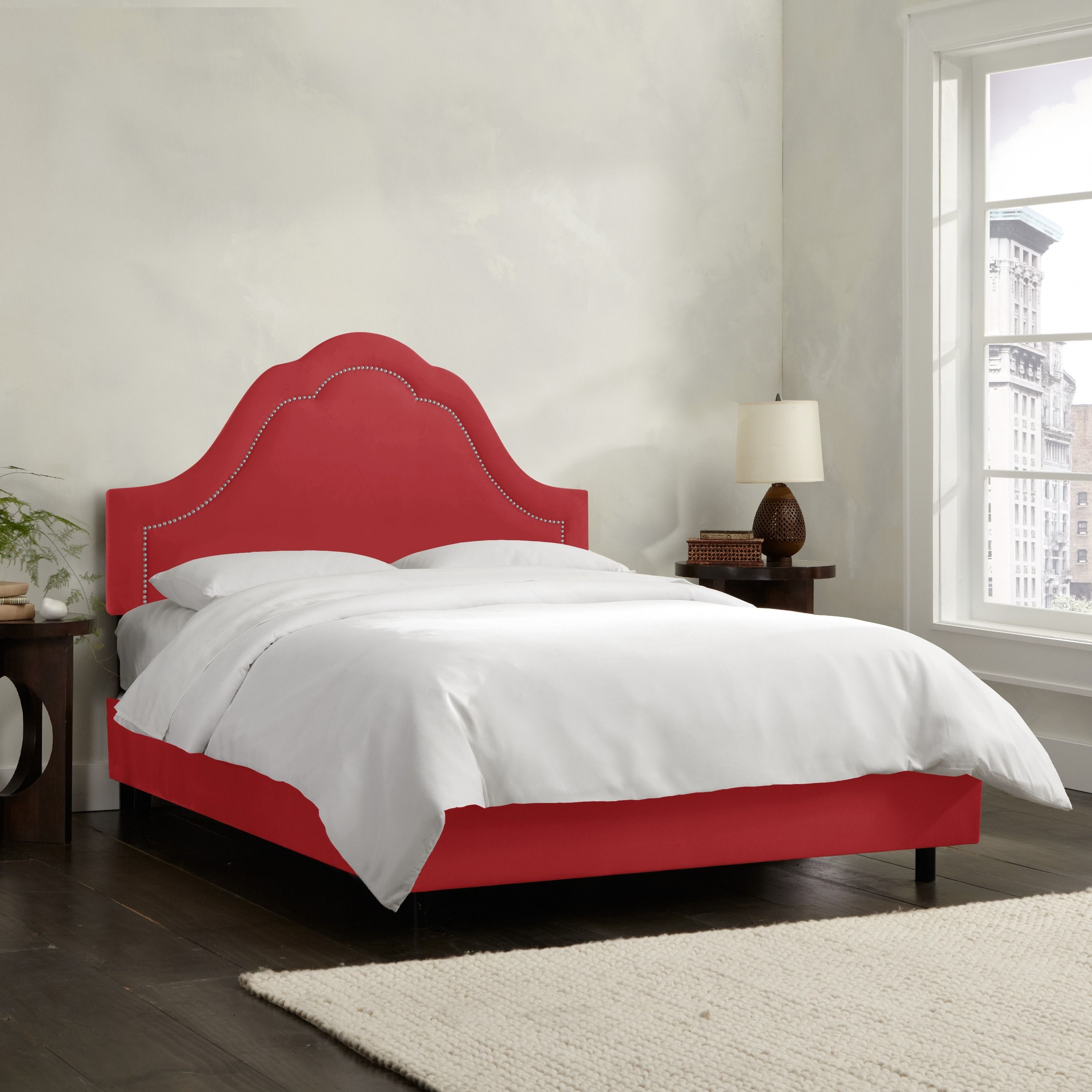 Skyline furniture inset nail button bed in microsuede products